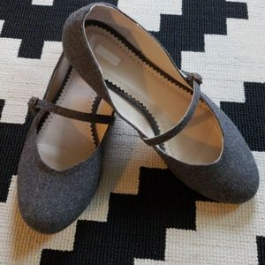 Gray tweed Mary Jane Flats